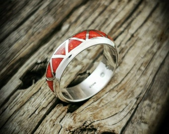 Details about  /Navajo Natural Coral /&sterling Silver Ring Sz 8