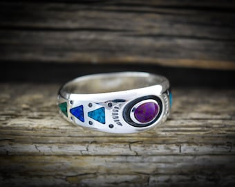 925 Sterling Silver Hummingbird Ring Purple Opal and Sugilite Ring