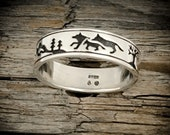 Wolves Ring Wolf Ring Engraved Wolf Ring 925 Sterling Silver