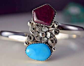 Sterling silver Navajo Sleeping B. Turquoise & Spiny Oyster cuff style bracelet