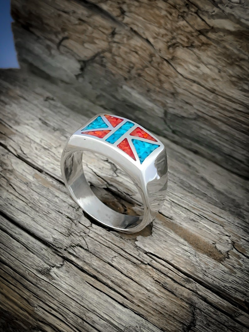 Sterling silver Ring with Turquoise /& Coral inlay