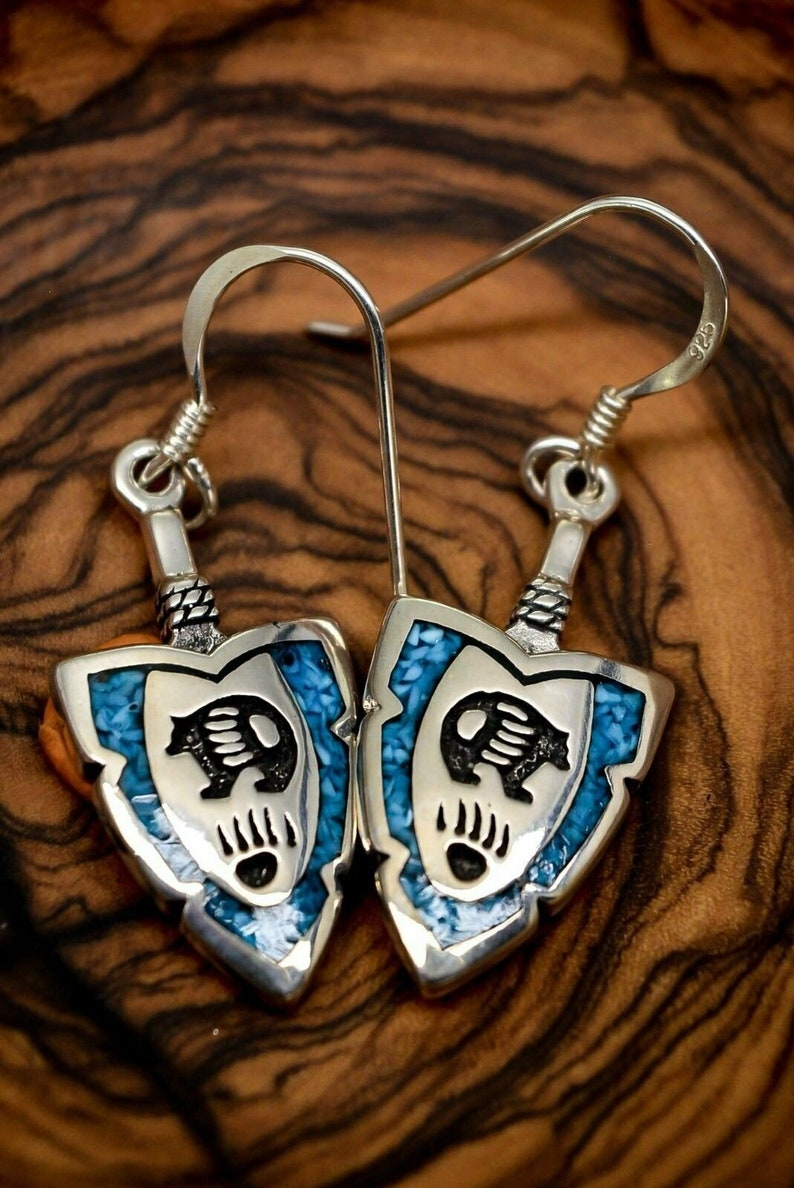 Arrowhead Earrings with Turquoise Bear design 925 Sterling Silver