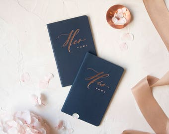 Wedding Vow Books Rose Gold Foil Press on navy notebook-set of his and her no personalization