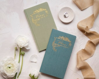 Wedding Vow Books with Gold Foil Press in Linen Cover-Pair of 2 No Personalization