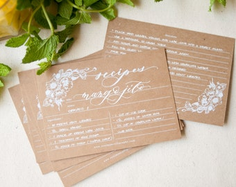 Recipe Cards on Kraft Paper and White Ink-Set of 10