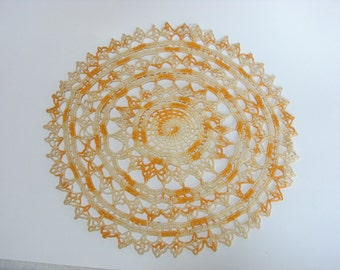 Hand Crocheted Lacey Doiley in Gold and Cream