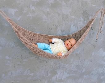 Eco friendly baby hammock Jute baby hammock Newborn knitted baby hammock Baby photo prop Newborn nest Baby hanging Beige sling Baby shower