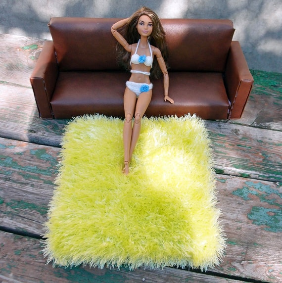 Green Yellow 12 Inch Doll Rug 1:6 Scale Furry Blanket