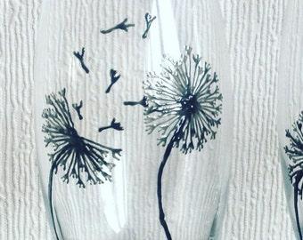 1 Dandelions Tumbler / Hand Painted Glass / Flowers / Summer / Glass Art / Wine Glass