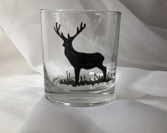 1 Stag Dram Glass / Hand Painted Glass / Water Glass / Unique Gift / Personalised / Scotland/ Red Deer/ Scottish Wildlife
