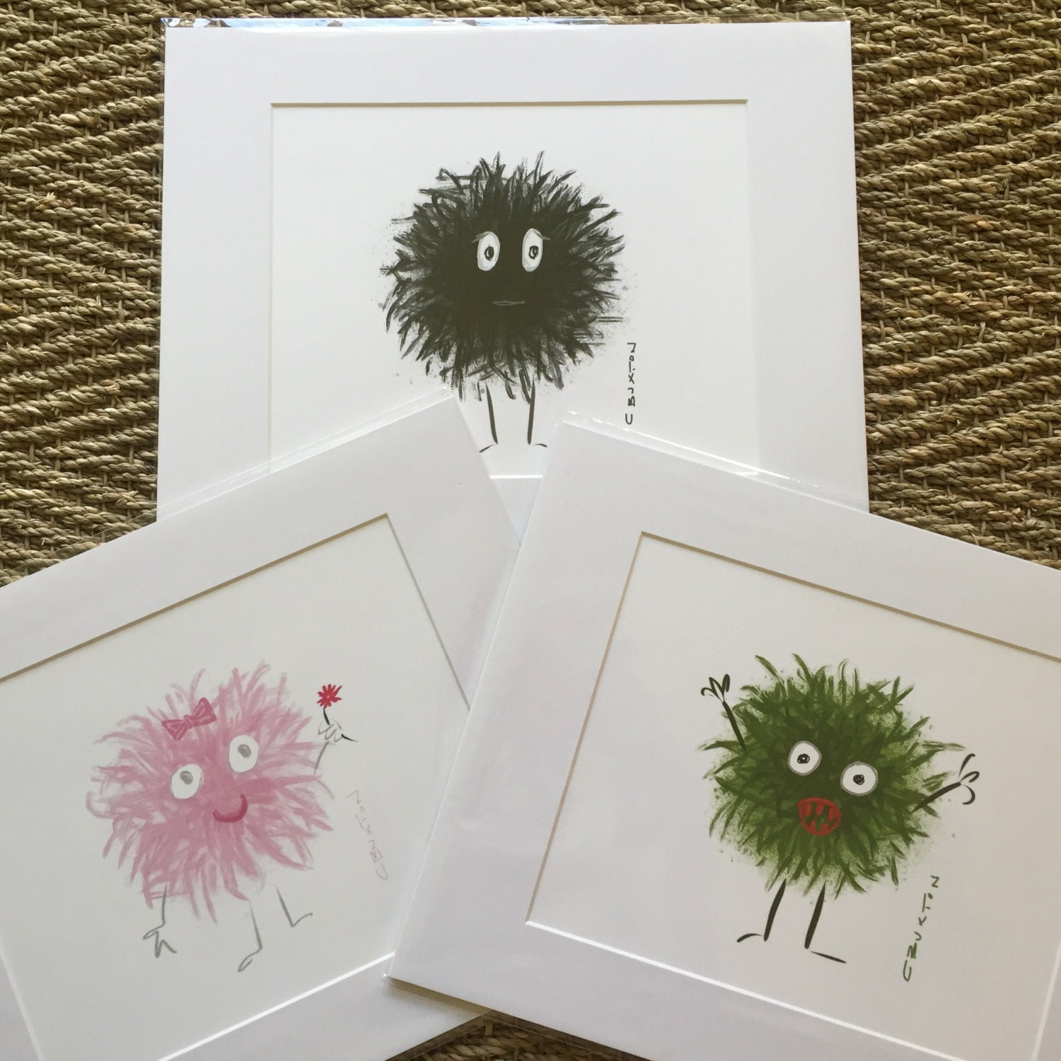 Art for kids\' rooms, Monster Prints matted and ready to be framed in ...