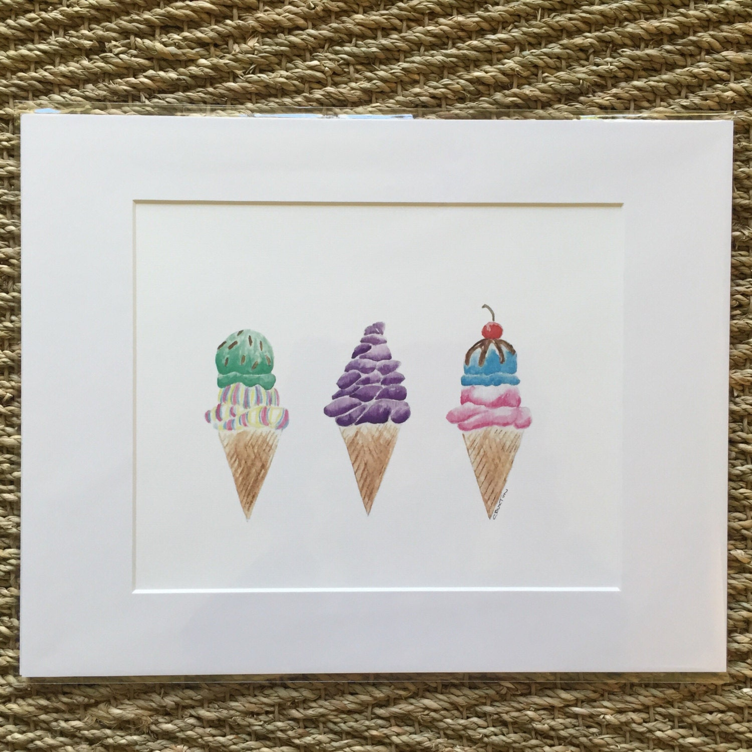 Crab or icecream cone Print matted and ready to be framed in a ...