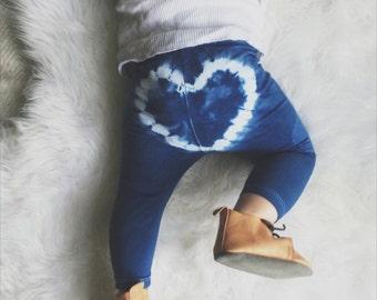 Heart Breaker Baby and Toddler Leggings -  Indigo Blue (HAND DYED)