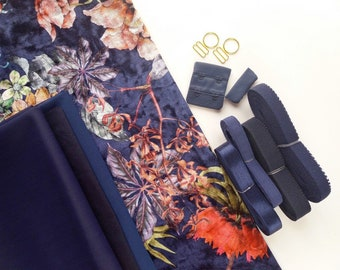 Bra making kit with floral crush velvet, underwire bra or bralette and pantie making kit, fabrics elastics and findings for lingerie sewing