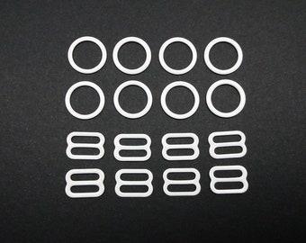 Rings and sliders, nylon coated metal, 4 sets, metal findings, strap adjusters, 11-12 mm, 1/2 in, colored metal, bra making, lingerie making