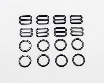 Nylon coated metal, rings and sliders, 4 sets, metal findings, strap adjusters, 11-12 mm, 1/2 in, colored metal, bra making, lingerie making