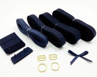 Navy blue bra findings kit, bra making elastics kit,  notions for lingerie sewing