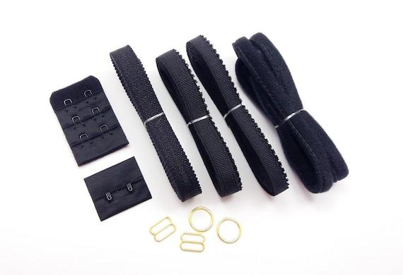 Hooks /& Eyes.Sliders /& Rings Med// Larger Black Bra Making Findings Kit inc