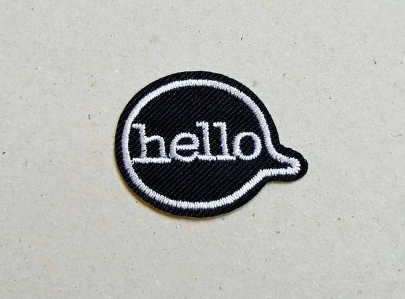 Hello patch iron on patch sew on patch iron on applique etsy