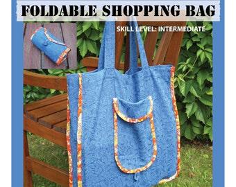 PDF sewing pattern, shopping bag, reusable grocery bag, digital pattern, market tote bag, foldable bag pdf, eco tote bag, bag sewing pattern