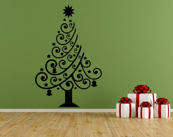 "Christmas Tree Vinyl Wall Decal, Decor, Sticker, Free US Shipping, Black or White, 12.6"" X 18"""