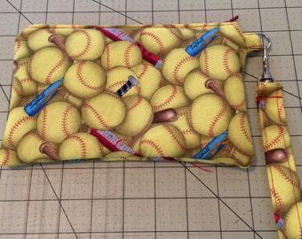 Softball Print Wristlet, Zipper pouch, makeup bag OOAK Ready to ship