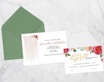 Macrame Wedding Invitation Suite // Boho Invite // Unique // One-of-Kind