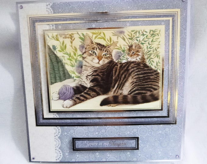 Cat Birthday Greeting Card, Tabby Cat, Striped Cat and Kitten, Lilac and White, Special Birthday, Special Day, Especially For You