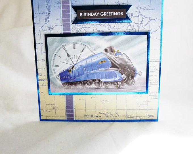 British Railways, Mans Birthday Card, Fathers Day Card, Greeting Card, Blue Train, Locomotive, Male Any Age, Dad, Brother, Uncle