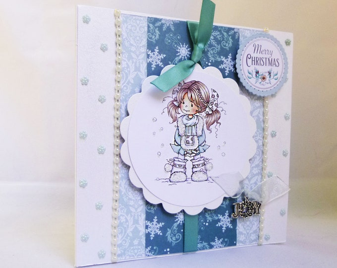 Merry Christmas Card, Girl In The Snow, Cute Card, Seasonal Greetings, Festive Card, Special Christmas, Festive Greetings