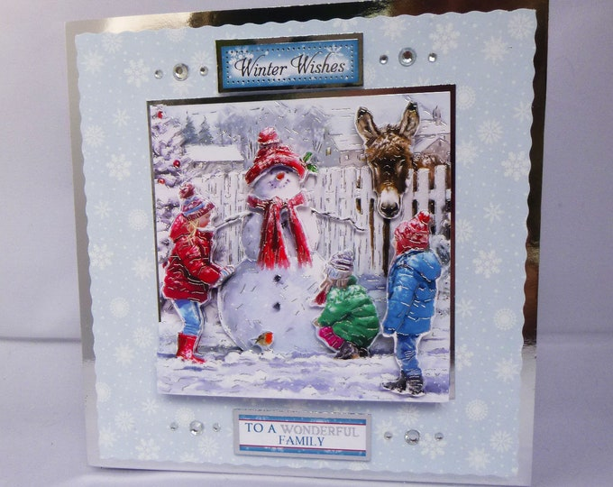 Children Making A Snowman, Winter Scene, 3D Decoupage Card, Winter Wishes, Seasonal Greetings, Christmas Greetings, Festive Greetings,