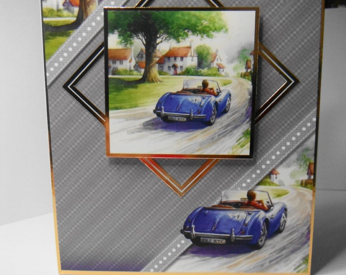 Blue Sports Car  Birthday Card, Greeting Card, Driving Scene, Village Scene, Especially For You, Special Day Card, Handmade In The UK
