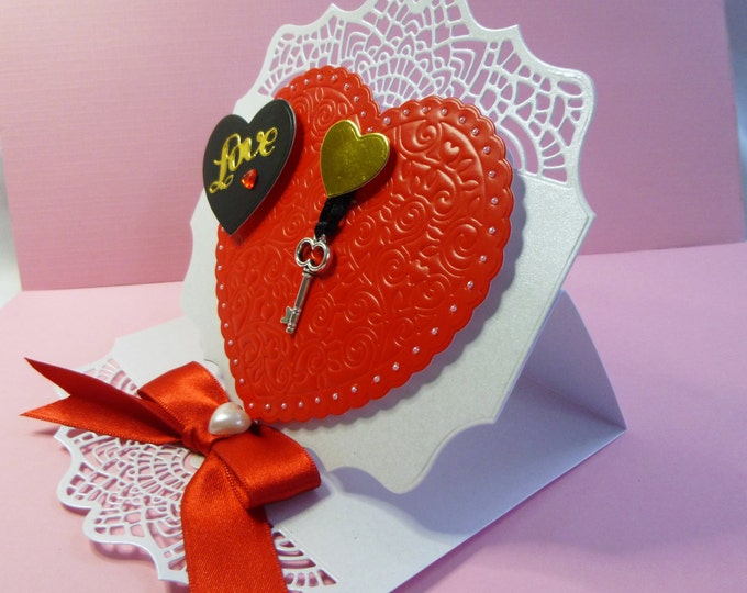 Wedding Card, Anniversary Card, Greeting Card, Key to My Heart, Personalised, 3D Decoupage Easel Card, Red and White