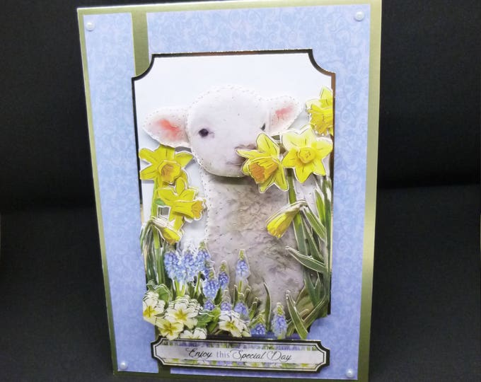Spring Lamb Card, Handmade 3 D Decoupage Card, Spring Time, Birthday Card, Greeting Card, Male or Female,