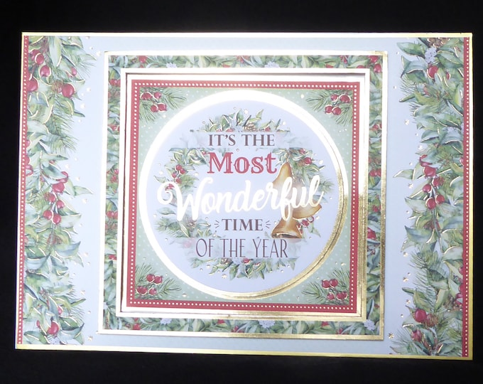 Traditional Christmas Card, Seasonal Berries And Leaves, Festive Wishes, Seasonal Greetings, Celebrate Christmas, Handmade In The UK