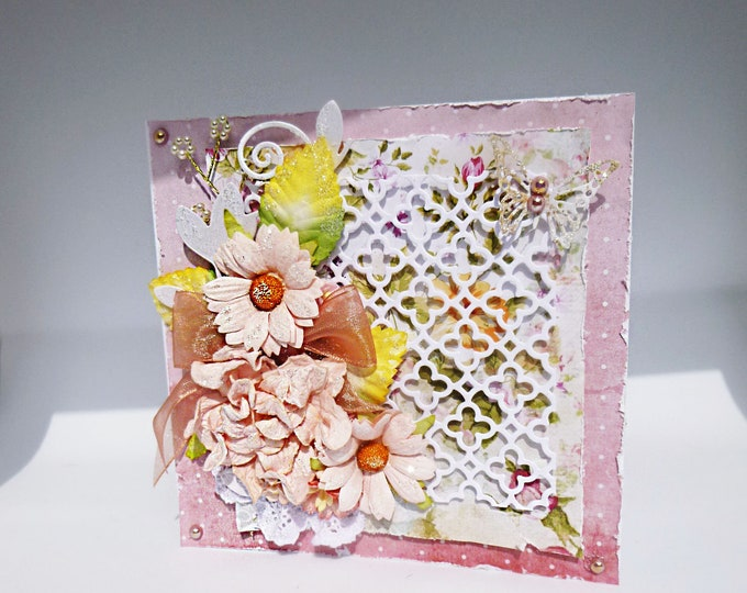 Shabby Chic Style Card, Birthday or Any Occasion Card, Pink Flowers And Butterfly, Floral Card, Card For Mum, Card For Sister