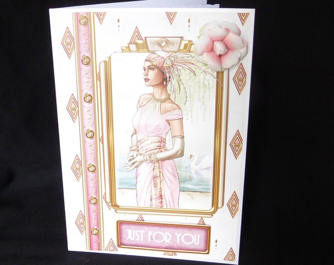 Art Deco Card, Just For You, 1920's Style Birthday Card, Special Day Card, Special Birthday, Any Occasion Card, Handmade In The UK