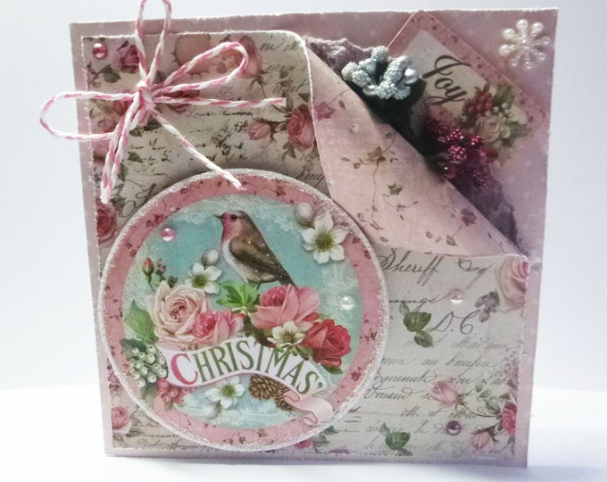 Vintage Style Christmas Card, Shabby Christmas Card, Flowers And Robin, Seasonal Greetings, Festive Greetings, Festive Fun, Christmas Fun