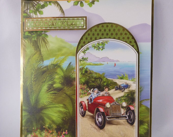 Art Deco Birthday Card, Sea View, Red And Blue Cars, Vintage Card, 1920's Style Card, Birthday Wishes, Special Birthday Card