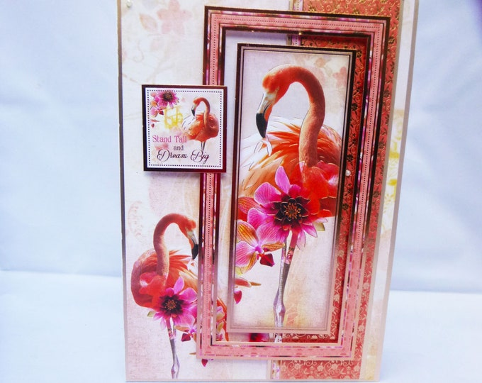 Pink Flamingo Card, Exotic Bird card, Exotic Pink Flowers, Special Day Card, Special Birthday Card, Celebrate Your Birthday