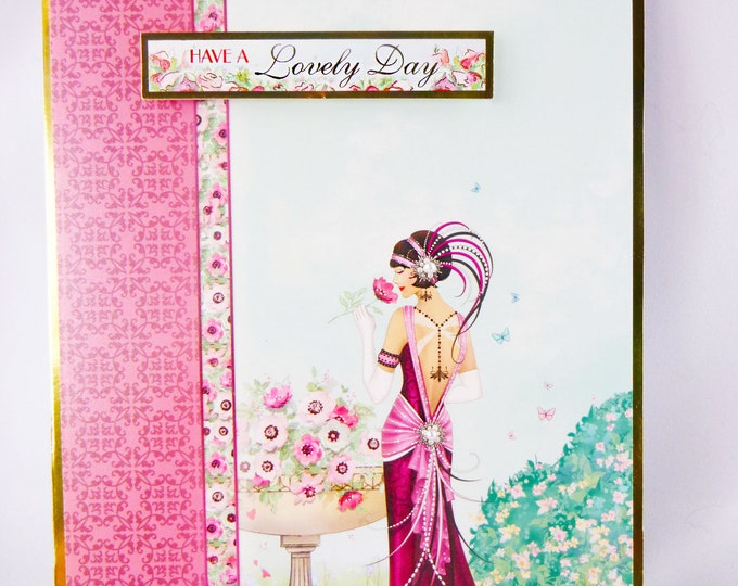 Art Deco Birthday Card, 1920's Style Card,  Lady In Evening Dress, Lady In Garden, Have A Lovely Day, Special Day Card, Floral Card