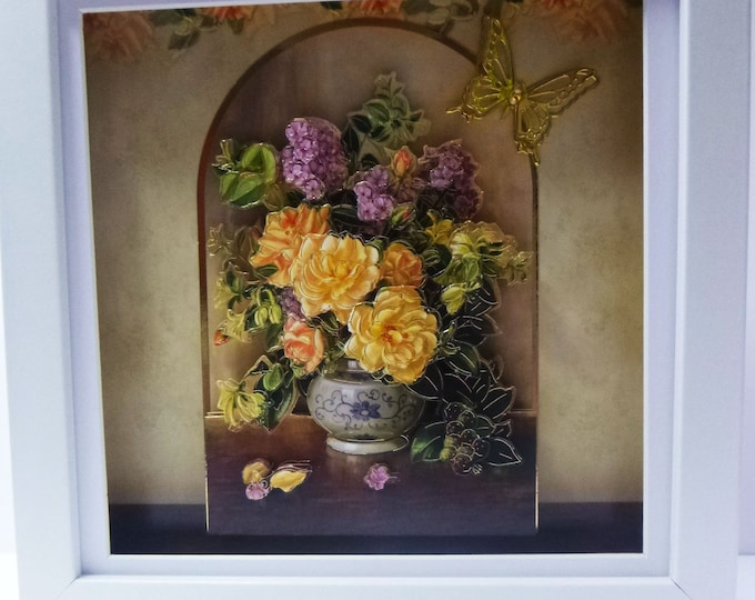 Floral Shadowbox Picture, 3 D Decoupage Picture, Gift For Christmas, Birthday Gift, Wooden Box Picture