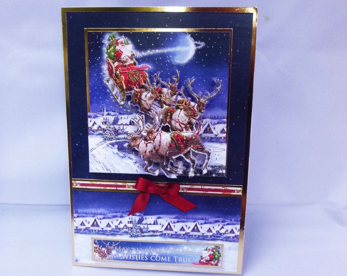 Santa And His Sleigh, 3 D Decoupage Card, Seasons Greetings, Festive Card, Sleigh And Reindeer, Celebrate Christmas, Christmas Wishes