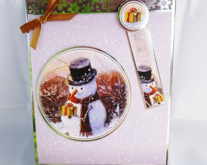Snowman Christmas Card, Just For You Card, Festive Card, Festive Greetings, Seasonal Greetings, Brown And Silver