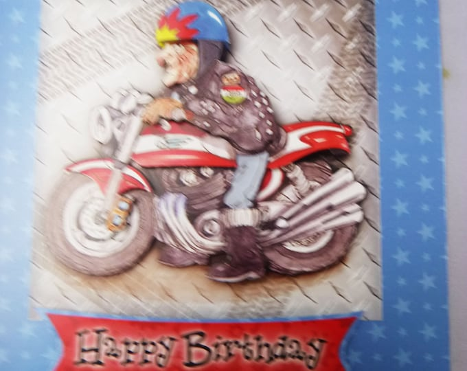 Motor Biker Card, Old Man On Motor Bike, Bike Enthusiast, 3D Decoupage Card, Humorous Card, Personalised Card, Special Birthday