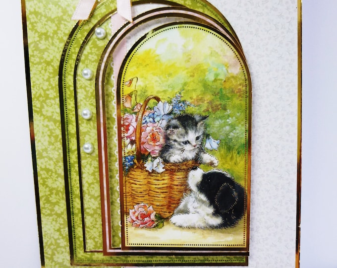 Kitten And Puppy, Flowers In A Basket, Playful Friends, Cute Animals, Especially For You, Personalised, Special Day Card, Birthday Card,