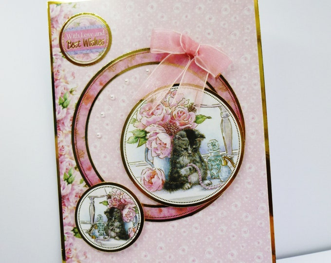 Kitten Birthday Card, Animal Card, Fluffy Kitten Card, Flowers And Pearls, Handmade Card, With Love And Best Wishes,