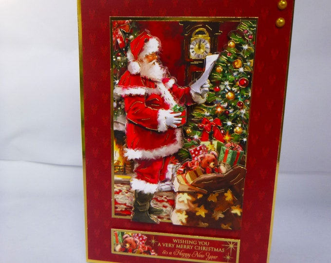 Santa 3D Decoupage Card, Santa with Presents, Christmas Greetings, Festive Greetings, Merry Christmas And Happy New,