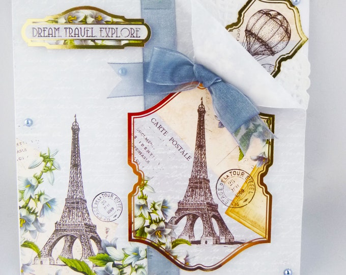 Shabby Style Card, Vintage Style Card,  Dream Travel Explore, Eiffel Tower Card, Hot Air Balloon Card, Bon Voyage Card, Any Occasion Card