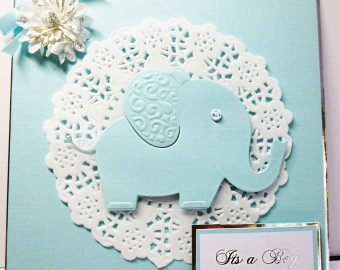 Its A Boy Card, Baby Boy Card, New Arrival Card, Blue And White, Elephant Card, Card For New Baby,